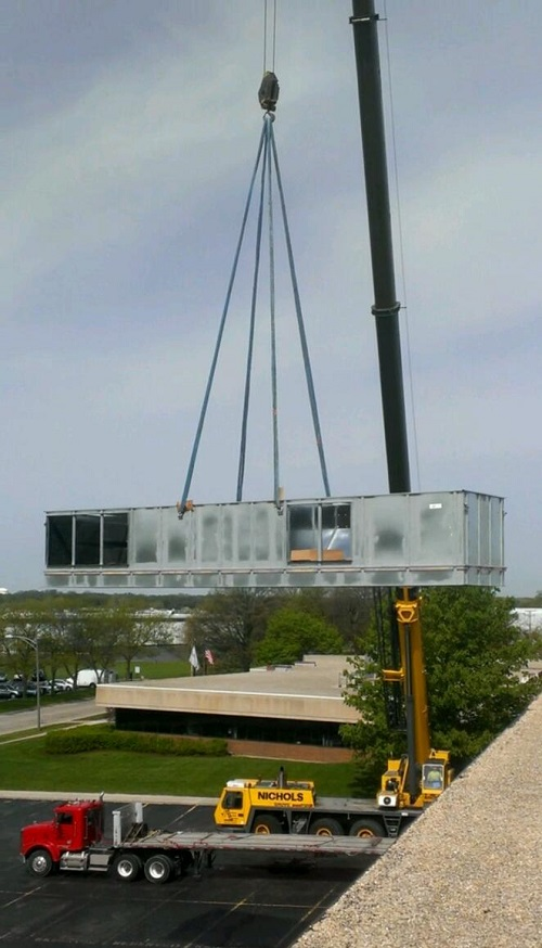 Crane HVAC installation